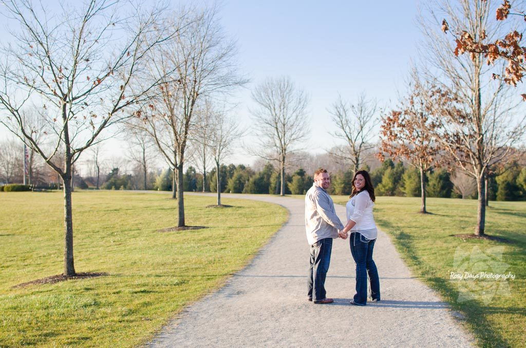Winter Engagement Session Green Grass Path
