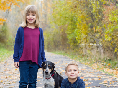 Autumn Family Portraits with Dog
